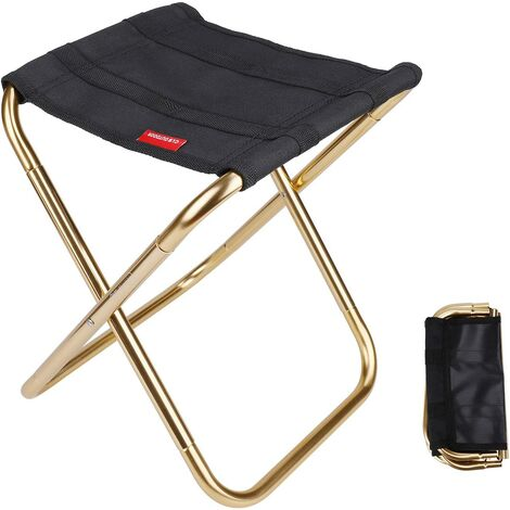 Camping Folding Stool Mini Stool Camping Chair Seat Portable Folding Seat for Fishing Hiking BBQ Travel Black