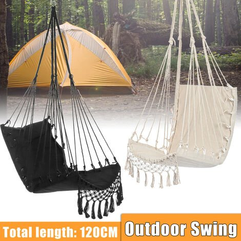 Camping Hammock Swing Chair Hanging Chair Swing Bed Chair Seat Suitable for Indoor Outdoor Courtyard (Black)