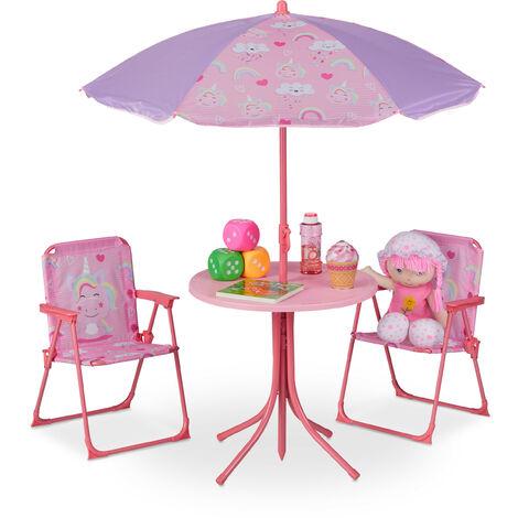 Camping Kindersitzgruppe, Kindersitzgarnitur m. Sonnenschirm, Klappstühle & Tisch, Einhorn Motiv, Garten, pink