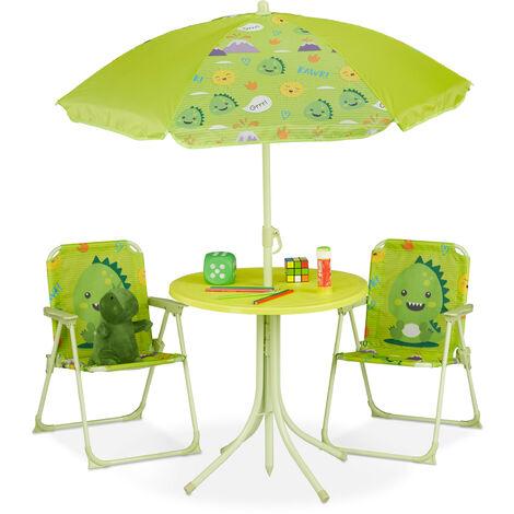 Camping Kindersitzgruppe, Kindersitzgarnitur m. Sonnenschirm, Klappstühle & Tisch, Monster Motiv, Garten, grün