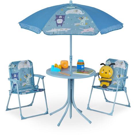 Camping Kindersitzgruppe, Kindersitzgarnitur mit Sonnenschirm, Klappstühle & Tisch, Motiv Tiere, Garten, blau