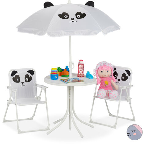 Camping Kindersitzgruppe, Kindersitzgarnitur mit Sonnenschirm, Klappstühle & Tisch, Panda Motiv, Garten, weiß