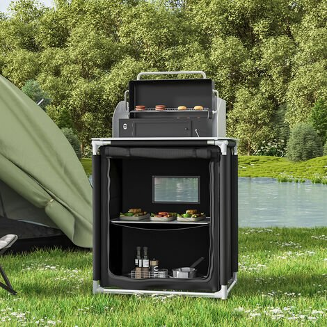 Camping Kitchen Stand Storage Cupboard Portable Cooking Table Outdoor Foldable