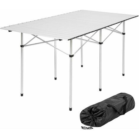 Camping Klapptisch aus Aluminium inkl. Tasche 140x70x70cm - Camping Tisch, Outdoor Tisch, Campingtisch klappbar - grau