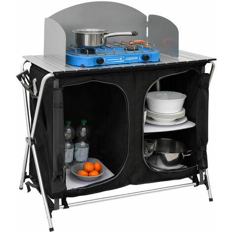 Camping-Küche inkl Windschutz 90x48x115cm 3 Fächer Campingschrank faltbar Kocher