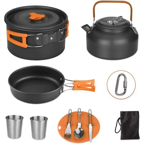 Camping Saucepans Set, 13 Piece Lightweight Aluminum Camping Lightweight Casserole Pan Set with Mesh Bag, Kettle, Knife, Fork, Spoon, 2 Cups and a Hook