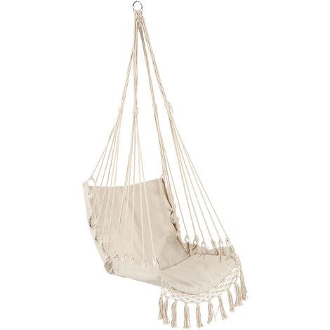 Camping securite hamac suspendu Hamac Chaise Balancelle Corde exterieur Suspendu Interieur Jardin, blanc
