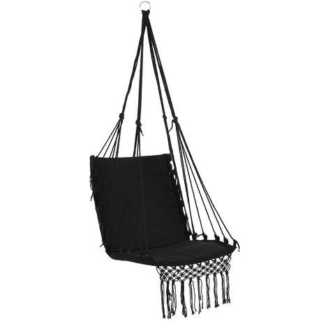 Camping securite hamac suspendu Hamac Chaise Balancelle corde Outdoor Hanging interieur Jardin, noir