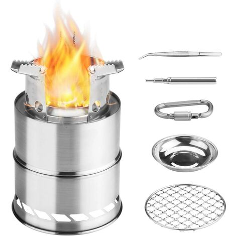 Camping Stove, Foldable Small Portable Stainless Wood Stove for BBQ Hiking Camping Picnic with Mesh BBQ and Alcohol Bowl