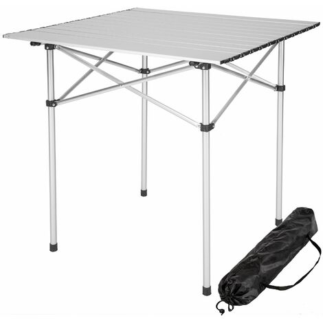 Camping table aluminium 70x70x70cm foldable - folding table, folding camping table, folding picnic table - grey