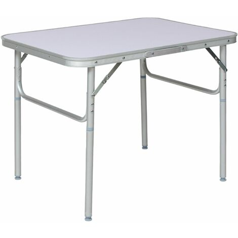 Camping table aluminium 75x55x68cm foldable - folding table, trestle table, folding camping table - grey - grey
