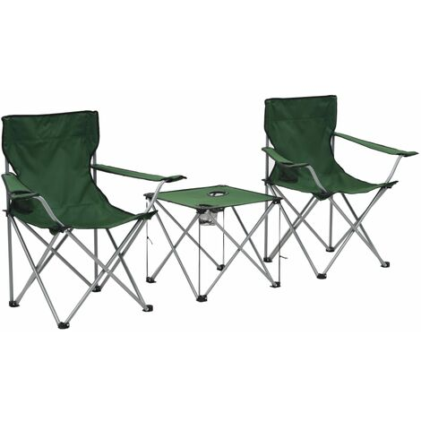 Camping Table and Chair Set 3 Pieces Green - Green