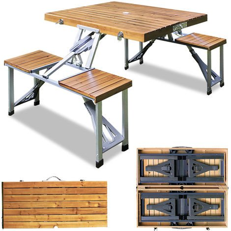 Camping Table and Chairs Set Aluminum Wood Tabletop