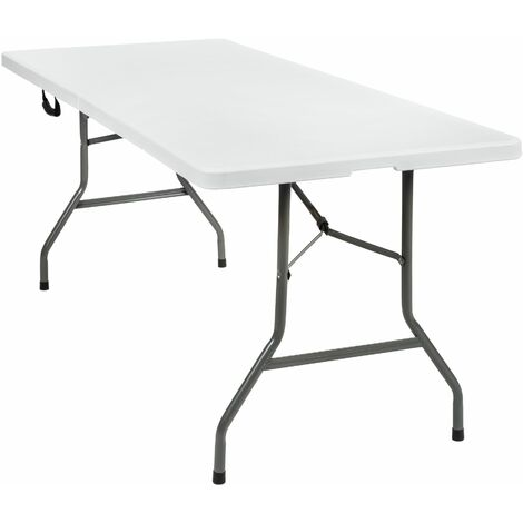Camping table foldable - folding table, trestle table, folding camping table - white
