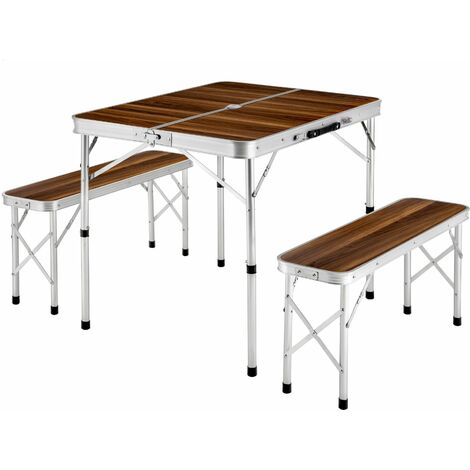 Camping table with 2 benches - folding table, trestle table, folding table and chairs - brown