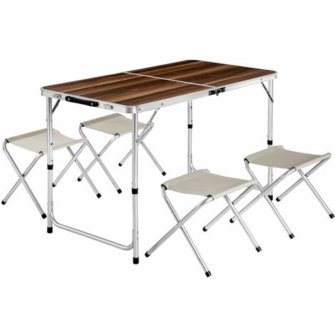 Camping table with 4 stools - folding table, trestle table, folding table and chairs - brown/white - marrón/blanco