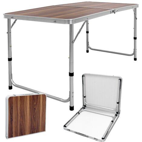 """main image of """"Camping tableau de jardin Table pliante table de table pliante 120 cm décor de bois d'aluminium"""""""