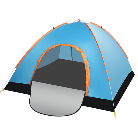Camping Tent 200x200x125cm Blue Double Doors Waterproof Automatic Folding UV Protection with Carry Bag
