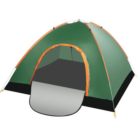 Camping Tent 200x200x125cm Dark Green Double Doors Waterproof Automatic Folding UV Protection with Carry Bag