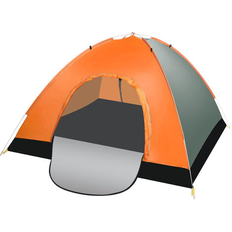 Camping Tent 200x200x125cm Orange+Green Double Doors Waterproof Automatic Folding UV Protection with Carry Bag