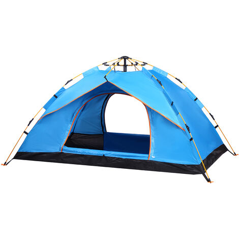 Camping Tent 200x200x135cm Blue Rainproof Sunscreen Fully Automatic Quick Opening Double Door Tent