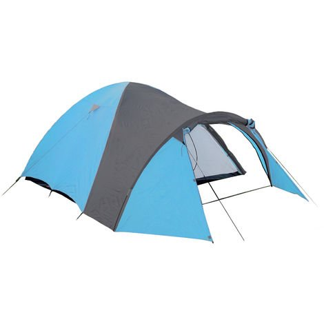 Camping Tent for 3 in Blue/Gray, 190T Polyester 210 x 120 x 130 cm with 3000 mm Hydrostatic Head