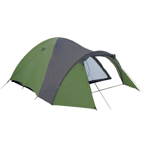 Camping Tent for 3 in Green/Gray, 190T Polyester 210 x 120 x 130 cm with 3000 mm Hydrostatic Head