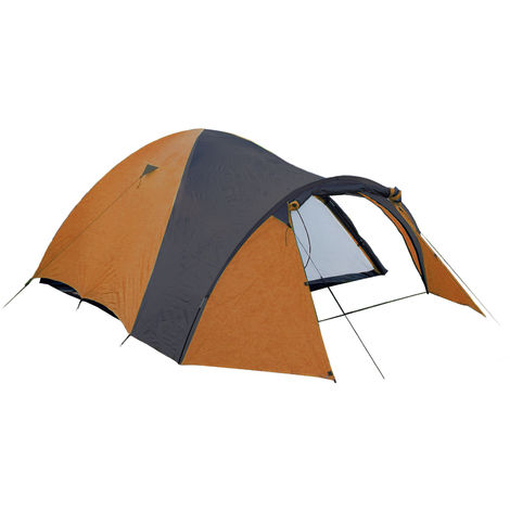 Camping Tent for 3 in Orange/Black, 190T Polyester 210 x 120 x 130 cm with 3000 mm Hydrostatic Head