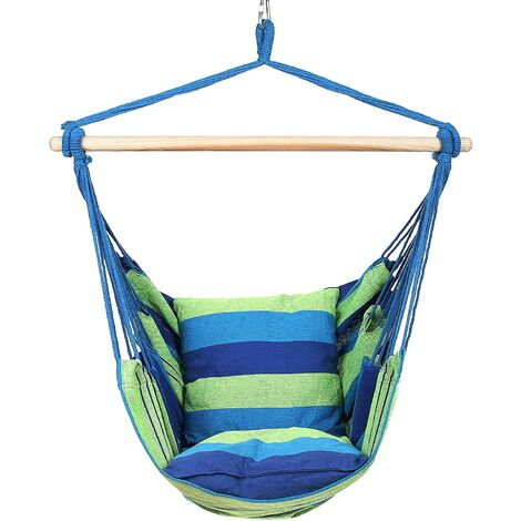 Camping Tent Hanging Hammock Chair 120KG Blue Home Portable Outdoor Swing Chair Outdoor Seating Camping Garden