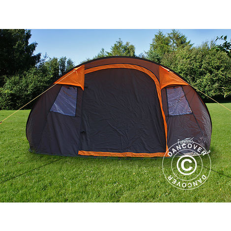 Camping tent pop-up, FlashTents®, 4 persons, Medium, Orange/Dark Grey
