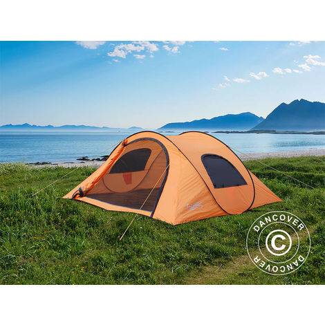 Camping tent pop-up, Flashtents®, 4 persons, Medium PT-1, Orange/Dark grey