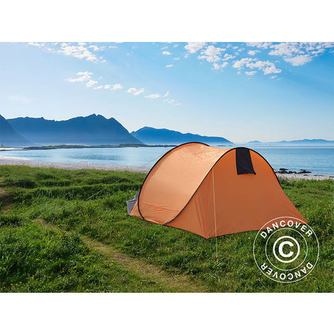 Camping tent pop-up, Flashtents®, 4 persons, Medium PT-2, Orange/Dark grey