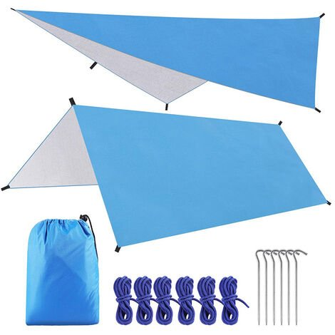 "main image of ""Camping Tent Tarp 3 * 3m Waterproof Windproof Hammock Rain Fly Tent Tarp Portable Tarpaulin Shelter Sunshade Canopy, for Outdoor Fishing Camping Hiking (Color : Blue)"""