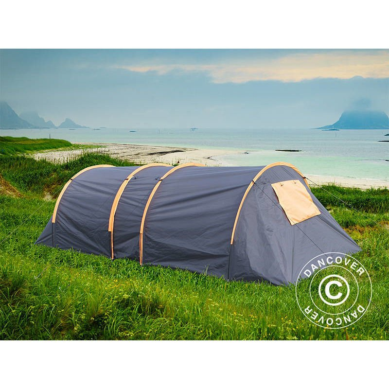 Camping tent, TentZing® Tunnel, 6 persons, Orange/Dark Grey