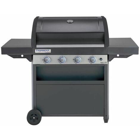 Campingaz Barbecue à Gaz Class 4 LBD, 4 Brûleurs en INOX, Puissance 12.8kW, Système de Nettoyage Facile InstaClean, Grille et Plancha en Acier Double Émaillage, 2 Tablettes Latérales
