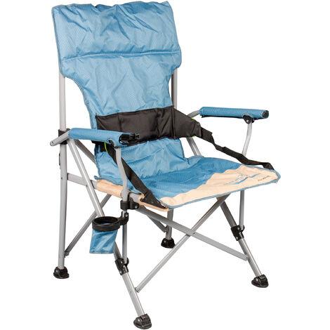 Campingstuhl Faltstuhl Deluxe XXL mit Getränkehalter und Flaschenöffner Relaxstuhl Anglerstuhl Rückenunterstützung bis 120 kg beige blau