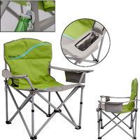 Campingstuhl Faltstuhl mit Getränkehalter und Kühlfach Relaxstuhl Anglerstuhl grün grau