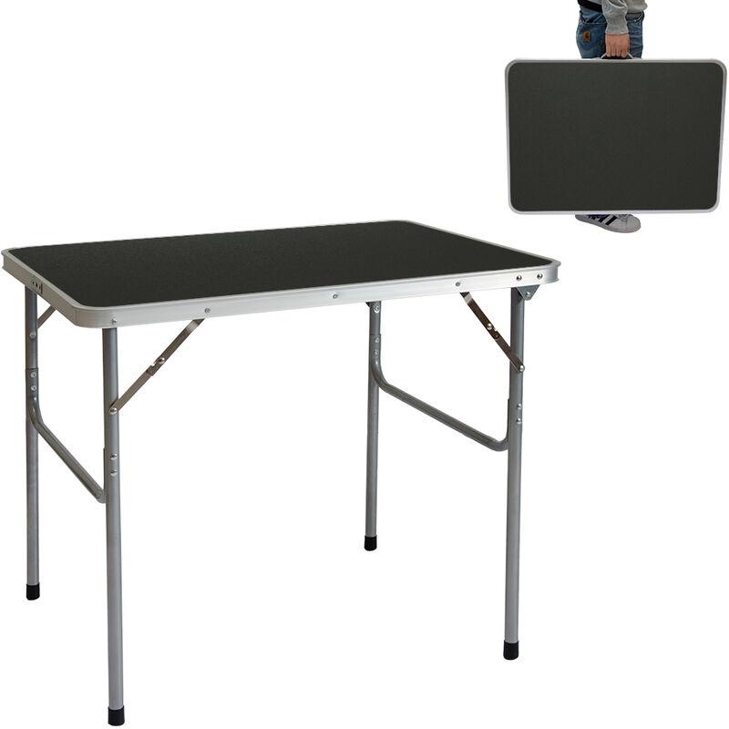 Aluminium Klapptisch.Campingtisch Aluminium Klapptisch 60x80x70cm Stahlrahmen Mdf Tischplatte Dunkelgrau Praktisches Kofferformat