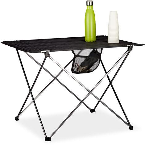 Campingtisch klappbar, mit Tasche, leicht, Outdoor Klapptisch Camping, HBT 51x73,5x54,5cm, Aluminium, schwarz