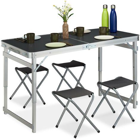 Campingtisch Set, klappbar, 4 Stühle, Klapptisch Camping, höhenverstellbar, 120 x 60 cm, Alu, MDF, silber/grau