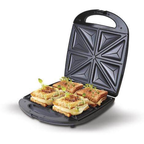 CAMRY CR-3023 Sandwichera eléctrica XL para 4 sandwiches, placas antiadherentes en forma de triángulo, Negra, 1500W