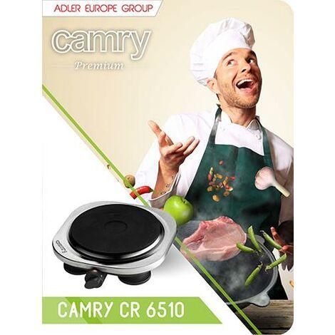 Camry CR6510 Cuisinière électrique, table de cuisson, régulateur de température, acier inoxydable, compact, voyage, camping 185 mm, 1500W