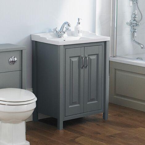 Camson 600mm Bathroom Traditional Grey Basin Vanity Cabinet Unit