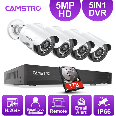 Camstro 5MP-N CCTV Security Camera System with 5-in-1 5MP-N H.264+ DVR and 4*5MP Indoor/Outdoor Security Cameras – with 1TB harddisk