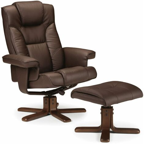 Camy Recliner & Stool Brown