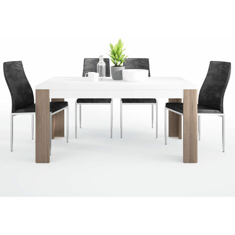 Canada Dining set package Canada 160 cm Dining Table + 6 Lillie High Back Chair Black. White melamine