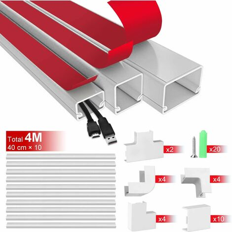 "Canal de cables, 15.7"" X 10 Canales portacables AGPtEK para ocultar y proteger cables, canales para paso de cables, kit de montaje en pared con diferentes canales para todo tipo de cables domésticos"