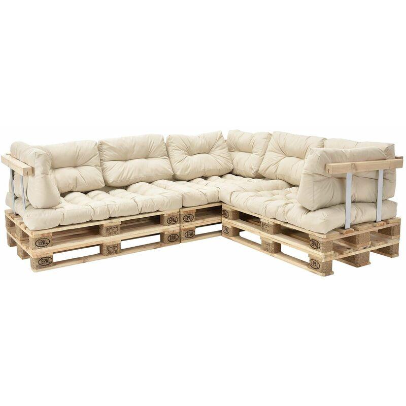 Canapé d'angle en palettes coussin beige canapé d'angle avec palettes rembourrage appui - modèle 2 - Beige