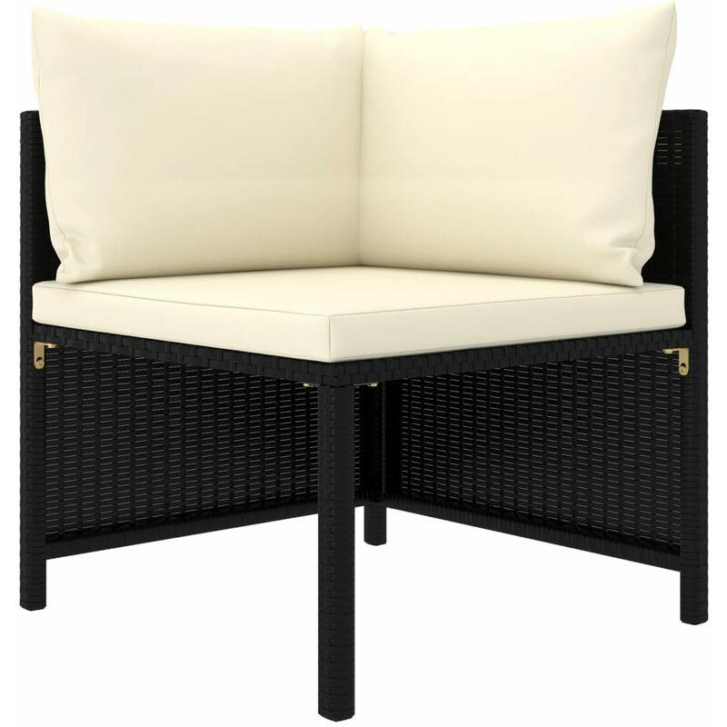 Canapé d'angle sectionnel avec coussins Noir Résine tressée