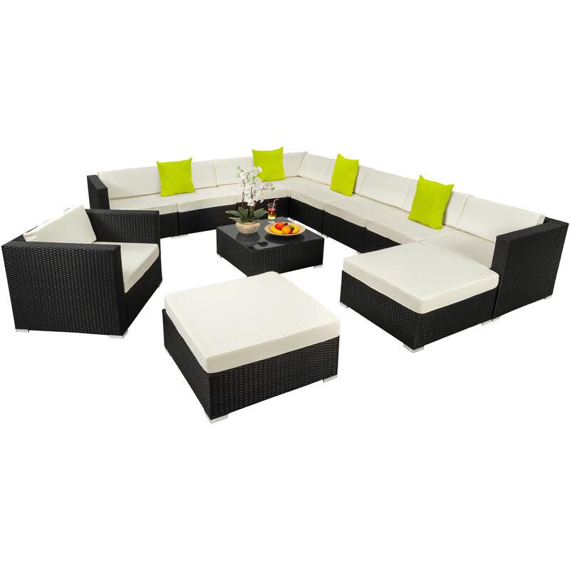 Tectake - Canapé de jardin LAS VEGAS modulable 10 places - table de jardin, mobilier de jardin, fauteuil de jardin - noir